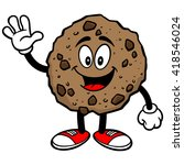 chocolate chip cookie waving | Shutterstock .eps vector #418546024