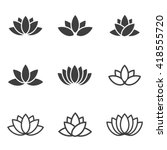 vector black lotus icons set on ... | Shutterstock .eps vector #418555720