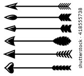vector black bow arrow icons... | Shutterstock .eps vector #418555738