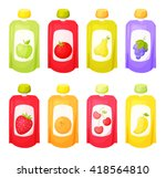 juice package set. fruit purees.... | Shutterstock .eps vector #418564810