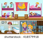 four scenes of people in the... | Shutterstock .eps vector #418579918