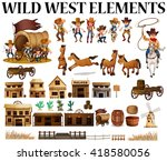 wild west cowboys and buildings ... | Shutterstock .eps vector #418580056