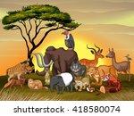 wild animals in the savanna... | Shutterstock .eps vector #418580074