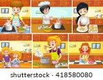 six scenes of people cooking in ... | Shutterstock .eps vector #418580080
