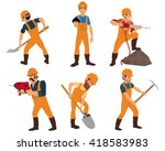 six miner isolated on white... | Shutterstock .eps vector #418583983