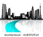 city with skyscrapers reflected ... | Shutterstock .eps vector #418592914