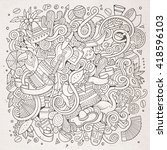 cartoon hand drawn doodles... | Shutterstock .eps vector #418596103