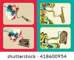 set of abstract music banners.... | Shutterstock .eps vector #418600954