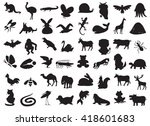 silhouettes of wild and... | Shutterstock .eps vector #418601683