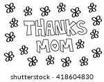 thanks mom flowers coloring page | Shutterstock .eps vector #418604830