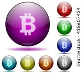 set of color bitcoin sign glass ...