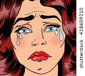 exhausted crying woman in... | Shutterstock .eps vector #418609210