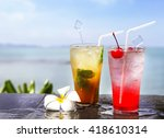 two cocktails on the pool  sea... | Shutterstock . vector #418610314