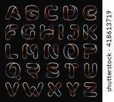 golden one line letters set.... | Shutterstock .eps vector #418613719