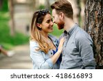 couple sharing emotions outdoor ... | Shutterstock . vector #418616893