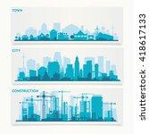 vector horizontal banners... | Shutterstock .eps vector #418617133