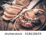 closeup of homemade sausages on ... | Shutterstock . vector #418618654