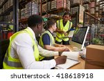 team discussing warehouse... | Shutterstock . vector #418618918