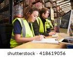 staff managing warehouse... | Shutterstock . vector #418619056