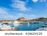 castelsardo harbor on a clear... | Shutterstock . vector #418624120