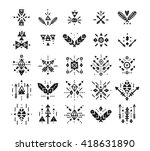 hand drawn tribal patterns with ... | Shutterstock .eps vector #418631890