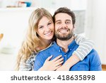 young couple embracing each... | Shutterstock . vector #418635898