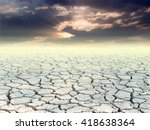 cracked ground and sunset dark... | Shutterstock . vector #418638364