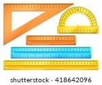 school instruments  rulers... | Shutterstock .eps vector #418642096