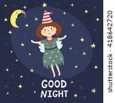good night card with a cute... | Shutterstock .eps vector #418642720