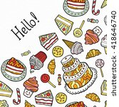 greeting card with doodle... | Shutterstock .eps vector #418646740