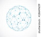3d vector digital wireframe... | Shutterstock .eps vector #418649659