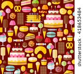 sweet food icons seamless... | Shutterstock . vector #418653484