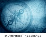 old compass on vintage map.... | Shutterstock . vector #418656433