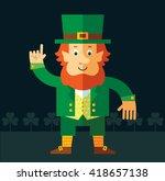 leprechaun making attention... | Shutterstock .eps vector #418657138