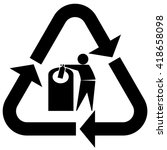 glass recycling symbol tidy man ... | Shutterstock .eps vector #418658098