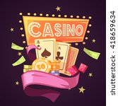 sparkling casino with cards... | Shutterstock .eps vector #418659634