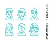 linear style people icons | Shutterstock . vector #418660270