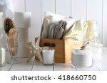 bath accessories on wooden wall ...   Shutterstock . vector #418660750