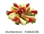 a plate of assorted freshly cut ... | Shutterstock . vector #41866108