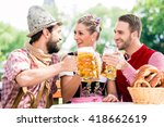 people with beer and pretzel in ... | Shutterstock . vector #418662619