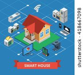 smart house isometric concept... | Shutterstock .eps vector #418667098