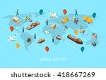 international logistic company... | Shutterstock .eps vector #418667269