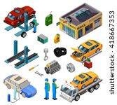 car service isometric... | Shutterstock .eps vector #418667353
