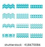 seamless blue wave vector...   Shutterstock .eps vector #418670086