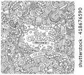 cartoon vector hand drawn... | Shutterstock .eps vector #418676590