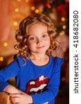 little girl is being in new... | Shutterstock . vector #418682080