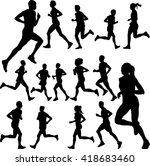 people running collection  ... | Shutterstock .eps vector #418683460