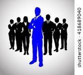 blue leader in front of his... | Shutterstock .eps vector #418689040