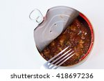 open tin can with sardines in... | Shutterstock . vector #418697236