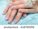 spring manicure for the bride... | Shutterstock . vector #418700098